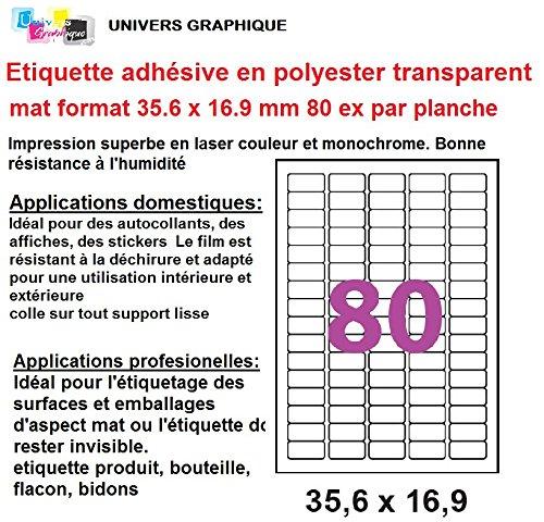 10 etiqueta adhesiva etiqueta transparente de poliéster transparente MAT 35,6 x 16,9 mm para la impresora láser sólo pegatina plástico, vidrio, metales pegatinas