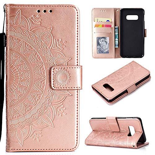 CoverKingz Handyhülle für Samsung Galaxy S10e - Handytasche mit Kartenfach S10e Cover - Handy Hülle klappbar Motiv Mandala Rosegold