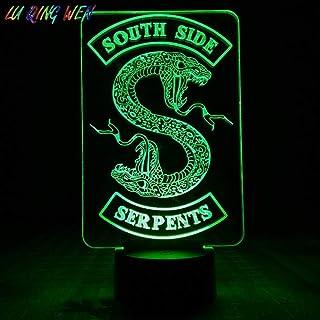 Boutiquespace Lámpara de ilusión 3D LED de luz nocturna serie de televisión Riverdale Serpientes lado sur logotipo de serpiente decoración dormitorio novio regalo de cumpleaños lámpara de mesa