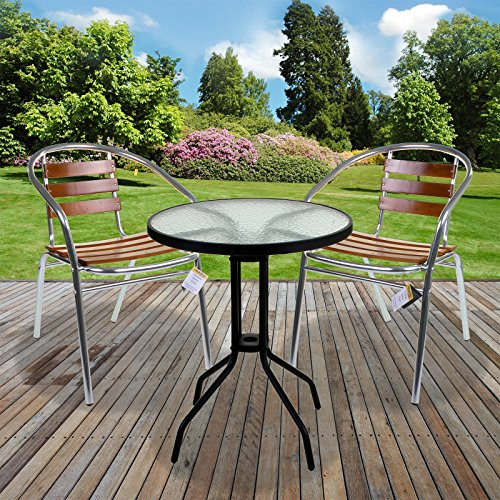 Marko Patio 3PC Bistro Sets Alloy Chrome with Round Table