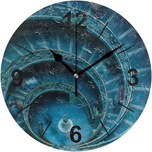 L.Fenn wandklok rond sky spiraal symmetry blauwe cirkel diameter Silent Decoratief voor home kantoor keuken slaapkamer