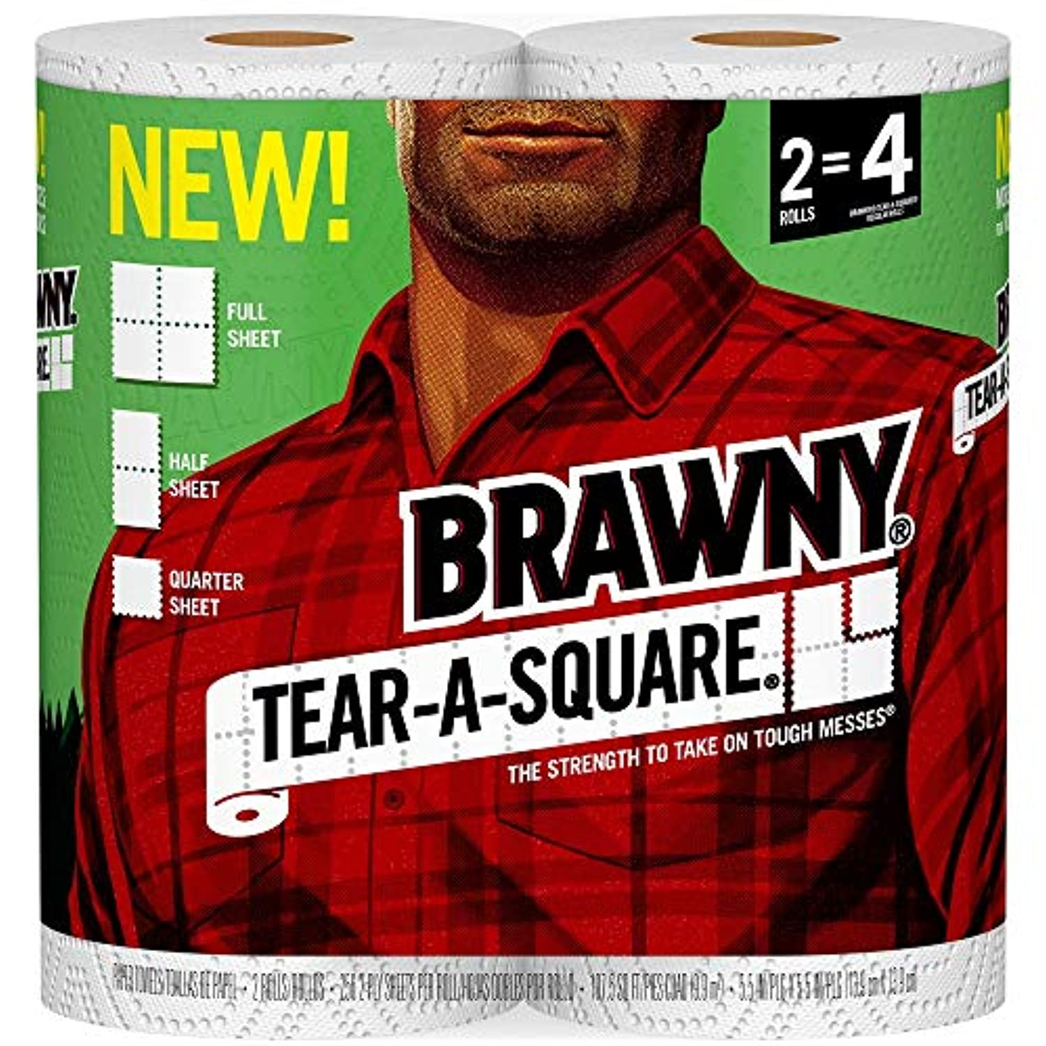 Brawny Tear-A-Square Paper Towels, 2 Rolls, 2 = 4 Regular Rolls, 3 Sheet Size Options (Packaging May Vary)