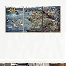 AIXYX Posters and Prints The Witcher 3 World Map Wall Art Decorative Picture Canvas Painting for Kids Room Home Decor Frame Artworks-Size:40Cmx60Cmx3 (16X24Inch)
