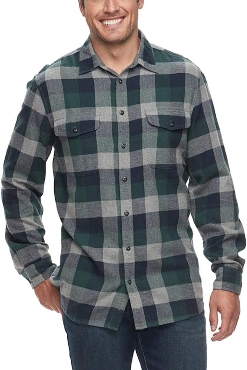 Sonoma Mens Classic Fit Flannel Long Sleeves Shirt Green Buffalo- 2 Chest Pockets