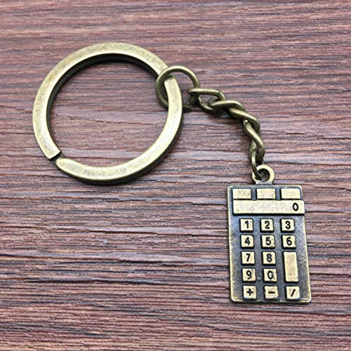YCEOT Schlüsselring-Taschenrechner Keychain 23X13Mm antike Bronzeart- und weisehandgemachte Metallkeychain Andenken-Geschenke für Frauen