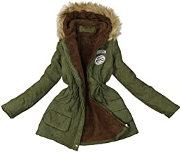 FarJing Women Fashion Hooded Long Sleeve Winter Warm Patchwork Coat Down Hoodie Jackets with Drawstring