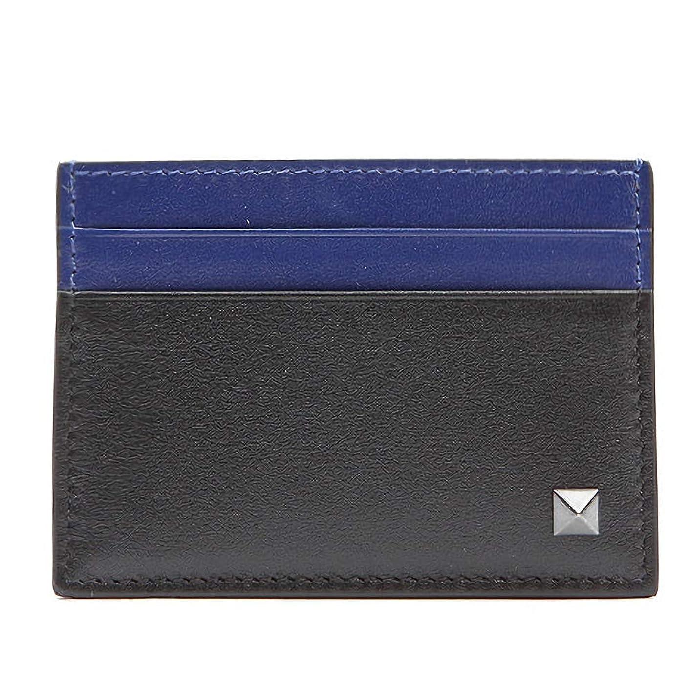 まつげストレンジャー小さな[ヴァレンティノ] [VALENTINO] メンズ シングル ロックスタッズ レザー カードケース カード財布 名刺入れ 定期入れ ブラック系 ブルー系 [並行輸入品]
