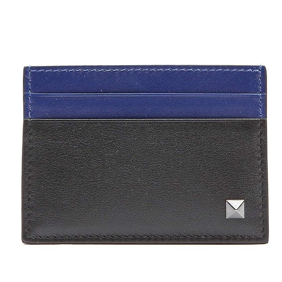 スリップシューズ努力する地下[ヴァレンティノ] [VALENTINO] メンズ シングル ロックスタッズ レザー カードケース カード財布 名刺入れ 定期入れ ブラック系 ブルー系 [並行輸入品]