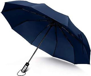 Junefish Travel Windproof Umbrella Unbreakable Automatic Compact Umbrellas Men/Women One Handed Operation, 10 Ribs Reinforced Windproof Umbrella, Stainless Steel & Fiberglass Construction (Navy Blue)