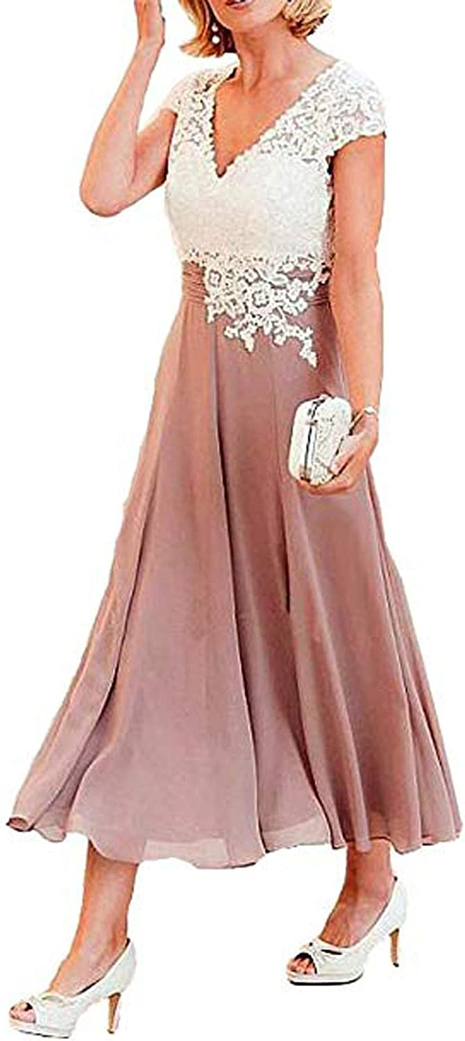 Women's Tea Length Mother of The Bride Dress Formal Prom Gown Pocket