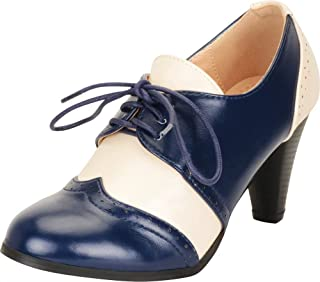 Cambridge Select Women's Retro Pinup Vintage Inspired Lace-Up Chunky Heel Wingtip Oxford