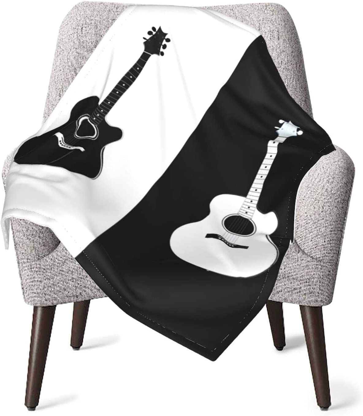 Acoustic Guitar Free shipping in Black and White Layer Sup Blanket Don't miss the campaign Double Baby