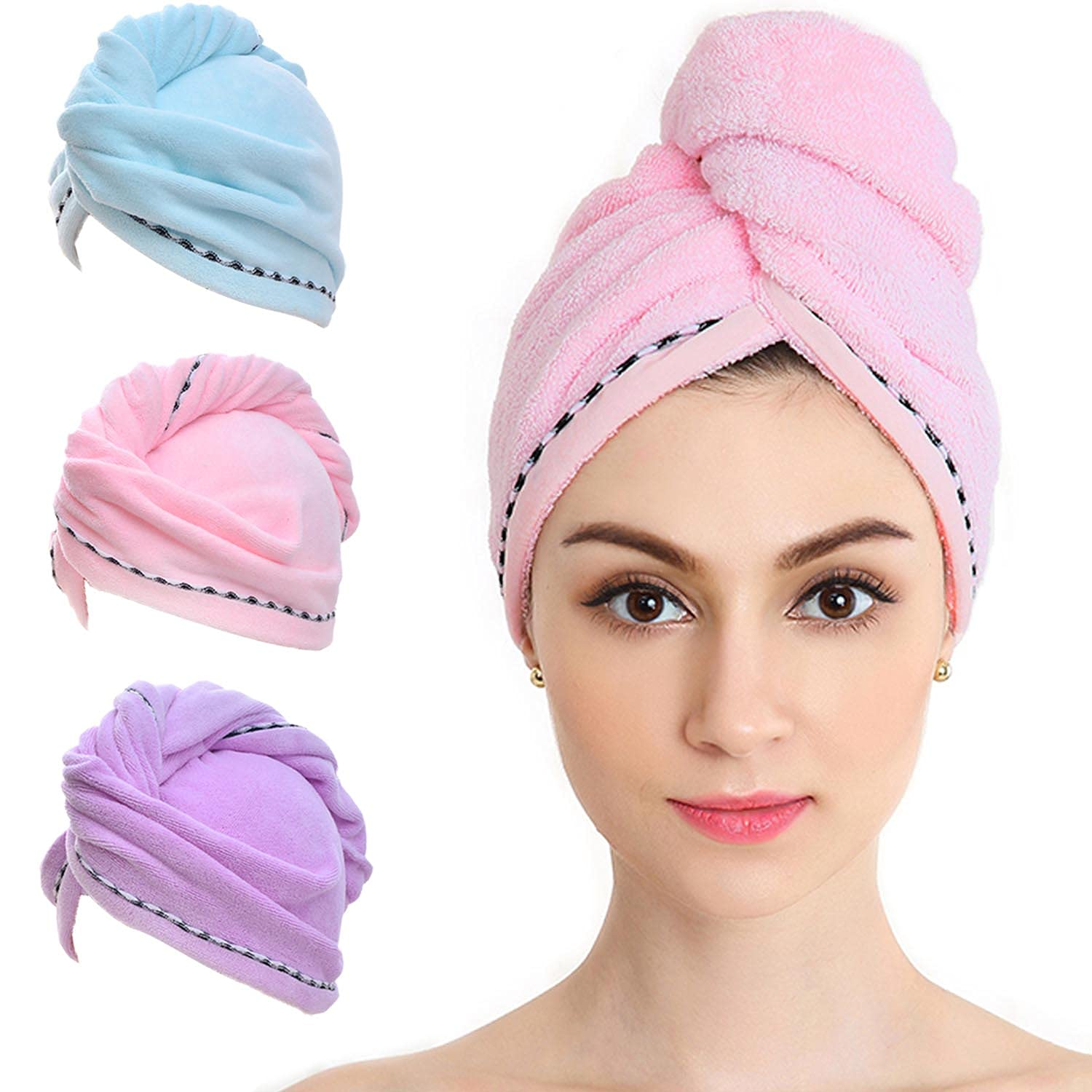 Vinker 3 Pack Hair Towel Towe Microfiber Quick El Paso Mall New Orleans Mall Wrap Drying