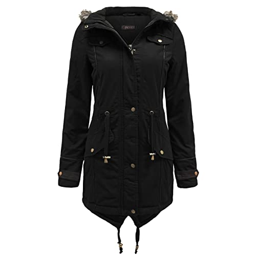 f42f86de005 ENVY BOUTIQUE LADIES FUR OVERSIZED HOODED WOMENS FISHTAIL MILITARY PARKA  JACKET WINTER COAT