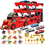 Transport Car Carrier Truck Toy with Dinosaurs, Cars Toys and Road Signs, Hauler Truck Play Vehicles Set, Gifts Games for Kids Ages 3-5 Years Old