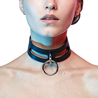 HOMELEX Black Gothic Metal O-Ring Leather Collar Necklace for Girls