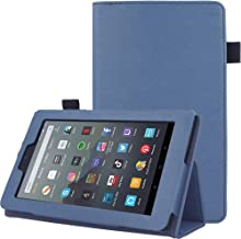 """TECHGEAR Case Designed For All New Amazon Fire 7"""" (9th Generation / 2019 Release) PU Leather Slim Folio Stand Case Cover with Hand Strap [Twilight Blue] with Auto Wake/Sleep"""
