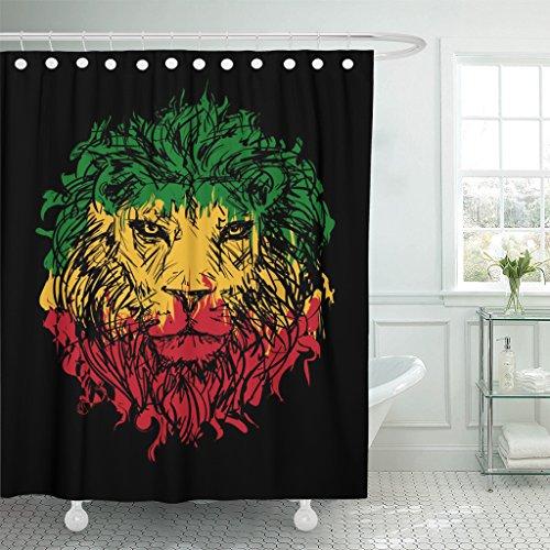 VaryHome Duschvorhang Green Marley Rasta mit Löwenkopf auf schwarz-rotem Reggae Wasserdichter Polyesterstoff Set mit Haken, Polyester-Mischgewebe, Multi, 72 x 72 inches