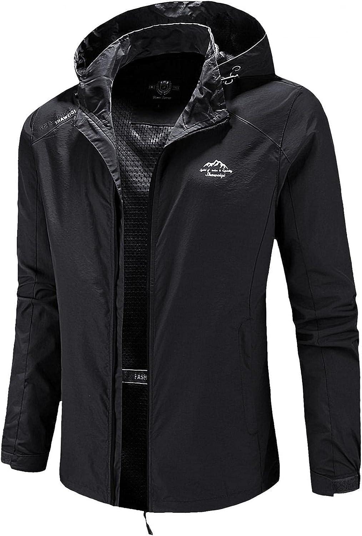Men's Hooded Windproof Waterproof Windbreaker Jacket Solid Outdoor Fitness Running Zipper Pocket Raincoat Coat