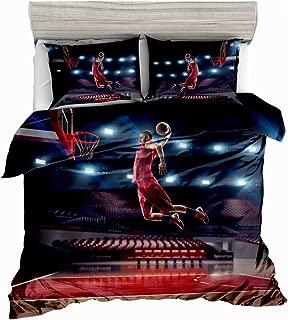 3D Bedding Set,Basketball Slam Dunk Printed Duvet Cover Set for Teens Boys Girls,Full,3pcs 1 Duvet Cover 2 Pillowcases(no Comforter inside) SxinHome