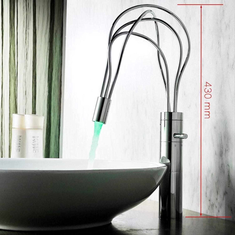 WDXDP Wasserhahn Led Licht Twining Rohr Design Bad Wasserhahn Deck Montieren Einhand Mode Becken Wasser Mischbatterie Massivem Messing Short & Tall