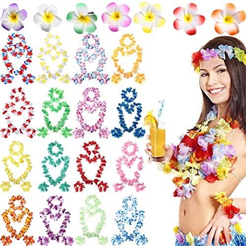 72 Piezas, Guirnaldas Hawaianas Tropicales de Flores de Luau Coronas de Collar de Fiesta Hawaiana Pulseras Pinzas con Flores Hawaianas para Cabello para Decoraciones de Fiesta Hawaiana Luau