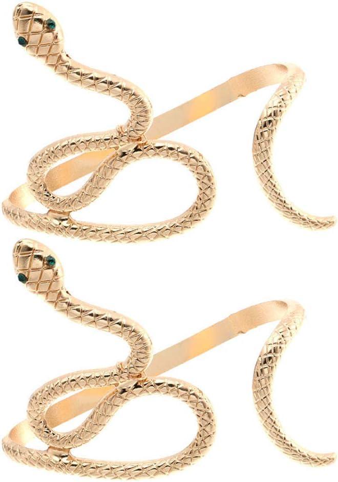 Halloween Decor 2PCS Vintage Creative Snake Shape Hand Palm Bracelet Open Cuff Women Jewelry Perfect Halloween