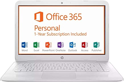 HP 14-inch Full HD Stream Laptop PC (Intel Celeron N3060, 4GB RAM, 64GB eMMC, White) with Office 365 Personal for one year