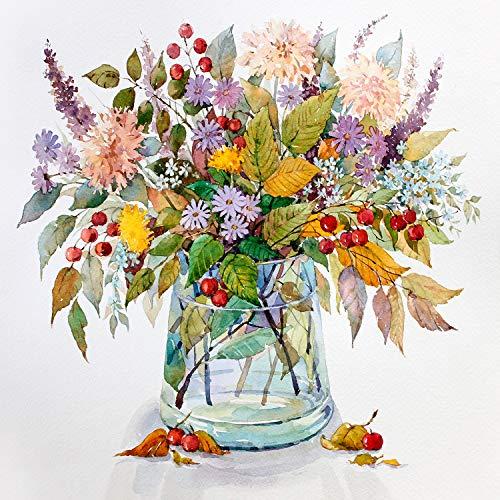 Tsvetnoy Malen nach Zahlen mit Rahmen - Paint by Numbers for Adults - Acrylfarbe und 3 Nylonbürsten mit Holzgriff - Anfänger Malen nach Zahlen für Erwachsene und Kinder - Herbst Bouquet 40x50cm