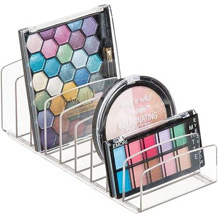mDesign rangement pour cosmétiques en plastique – rangement maquillage à 9 compartiments – boîte de rangement pour la table à maquillage ou l'armoire – transparent