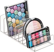 mDesign Vertical Palette - 9-Slot Organiser for Storage of Cosmetics and Accessories on Vanity, Countertop or Cabinet - Clear