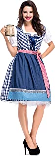 Womens German Dirndl Dress, 3-Piece Bavarian Oktoberfest Costumes for Halloween Carnival