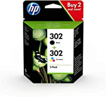 HP 302 Multipack Original Druckerpatronen (für HP DeskJet 1110/2130/3630, HP ENVY 4520,451X, HP OfficeJet...