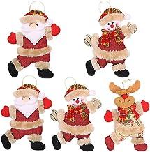 CLISPEED 5 Peças de Árvore de Natal Enfeites de Pelúcia Adorável Boneco de Neve Papai Noel Rena Boneca Árvore Pendurada Pe...