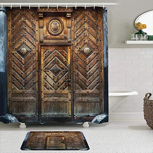 EricauBird Cortina de ducha, marco rústico de puerta antigua, adorno tradicional fuerte, oxidado, diseño de imagen de casa, cortinas de ducha, decoración de baño 182 x 182 cm