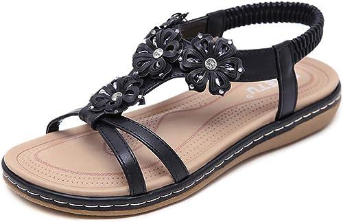 Xuyaowzr Sandalias para mujer Pisos zapatos de conducción zapatos de Playa,negro,41