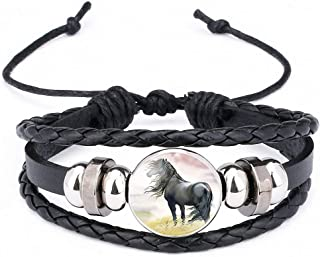 Womens Horses Photo Handmade Glass Cabochon Braided Leather Charm Bracelets Bead Weave Punk Rock Male Bangle Gift
