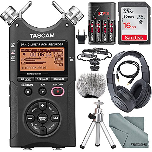 Tascam DR-40 4-Track Handheld Digital Audio Recorder with Microphone Shockmount, Dedicated Windscreen, Along with Platinum Accessory Bundle Fibertique Cleaning Cloth