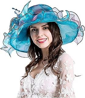 FarJing Women Foldable Church Derby Hat Ruffles Wide Brim Summer Bridal Cap