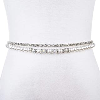 SGJFZD Beaded Rhinestone Inlaid Decorative Belt Female Thin Dress Waist Chain Wide Fashionable Simple Wild (Color : Beige, Size : 125cm)
