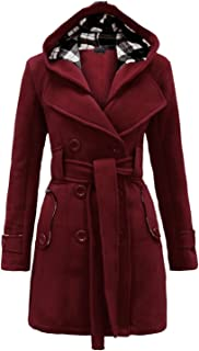 NOROZE Womens Long Sleeve Belted Button Fleece Coat Plus Sizes