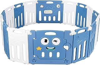 COSTWAY Parc Bébé 16 Panneaux Pliable, Aire de Jeu Pliable pour Enfant en HDPE avec Verrou de Sécurité,Jouets Educatifs, A...