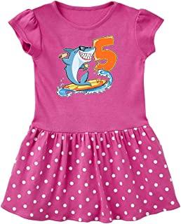inktastic 5th Birthday Surfing Shark with Hot Dog and Ice Cream Toddler Dress