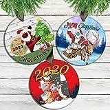Juego de 3 adornos para árbol de Navidad, 3 piezas de Papá Noel Feliz Navidad 2020 con adornos de reno, un año para recordar