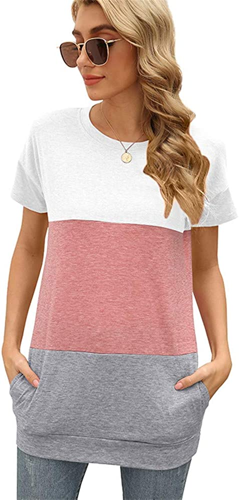 Women's Crewneck Color Block Tops With Pockets Short Sleeve Shirts Tunics For Women To Wear With Leggings