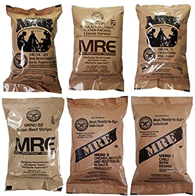 Western Frontier Ultimate MRE, Pack Date Printed on Every Meal - Meal-Ready-to-Eat. Inspected Certified Genuine Mil Surplus. (6-Pack)