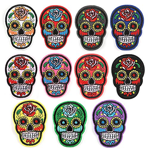 10pcs Embroidered Punk Skull Head Skeleton Flower Decorative Set DIY Patches for Clothes Jackets Hats Bags Vests Jeans Shoes Clothing Garment Decorations DIY Accessories Repairing Holes