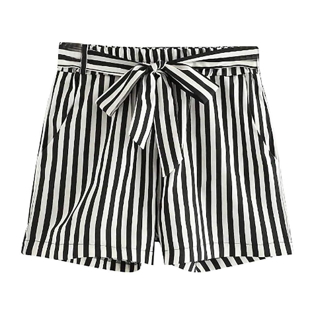 Botrong Womens Stripe Bandage Pocket Wide Leg Pants Casual Elastic Waist Shorts