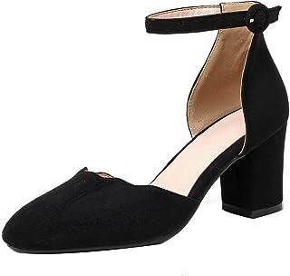 [JYshoes] ラウンドトゥストラップパンプス ラウンドトゥシューズ 6cm太いヒールハイヒール アンクルストラップチャンキーヒール快適 靴