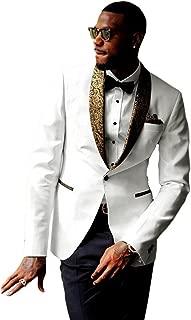 Premium Formal Jacquard Gold Paisley Floral Pattern Shawl Lapel Slim Fit Tuxedo White Prom Wedding Groom Suits